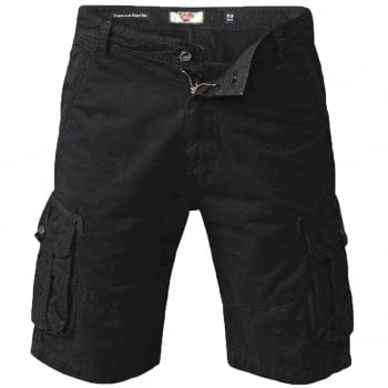 D555 Mens Greg Designer Cargo Combat Chino Shorts Black