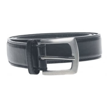 D555 Mens Lewis Square Buckle Plain Belt 3.0cm Width - Black