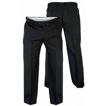 D555 Mens New Formal Flexi Waist Trousers Max In Black