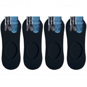 4 Pairs Mens Womens New Unisex Invisible Black Socks Anti Slip Trainer Shoe Liner 6-11