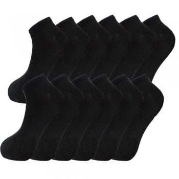Design Socks 6x Pair Mens Plain Cotton Blend Trainer Liner Gym Sports Wear Black Socks