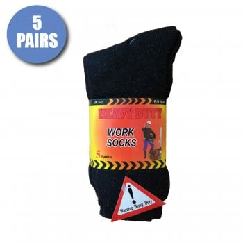 Design Socks Mens Thermal Warm Heavy Duty Thick Builder Work Socks in Plain Black Charcoal