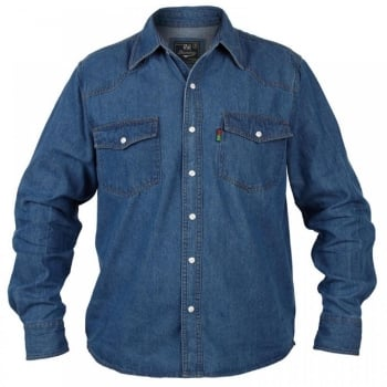 Duke London Duke New Big King Size Mens Western Stonewash Blue Denim Shirt