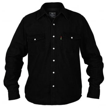 Duke London Duke Western Mens Authentic Denim Casual Shirt Black