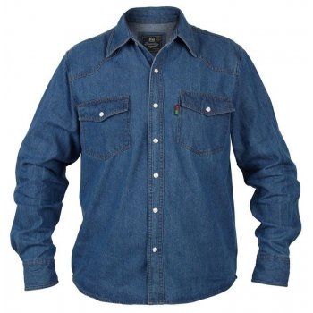 Duke London Mens Duke Western New Authentic Denim Shirt Stonewash Blue