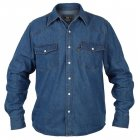 Mens Duke Western New Authentic Denim Shirt Stonewash Blue