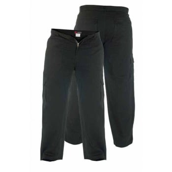 "Duke London Mens New Cargo Cotton Combat 6 Pocket 38"" Leg Trousers Black"
