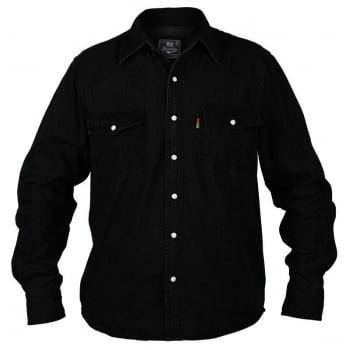 Duke London Duke New Big King Size Mens Western Black Denim Shirt