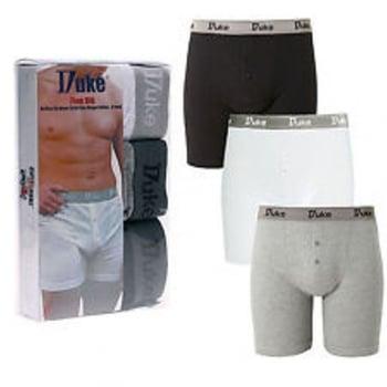 Duke London Duke New Mens Cotton Boxer Shorts Button Fly XL Underwear 3 Pack