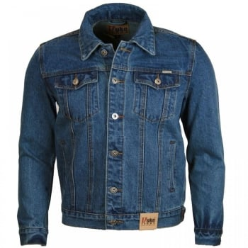 Duke New Mens Quality Denim Trucker Jean Jacket Blue