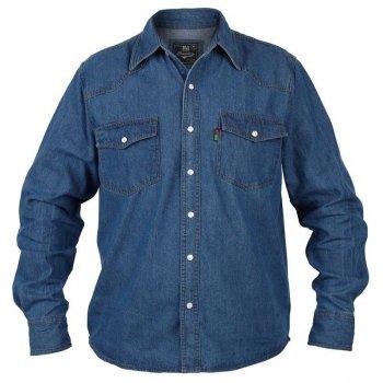 Duke London Duke Western Mens Authentic Denim Shirt Stonewash Blue