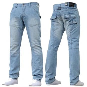 Enzo EZ243 Regular Fit Straight Leg Jeans Bleached Wash Jeans