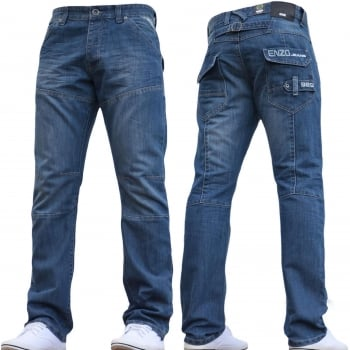 Enzo EZ243 Regular Fit Straight Leg Jeans Mid Stonewash Wash Jeans