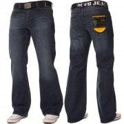 FBM Mens 19 Designer Bootcut Denim Mid Stonewash Jeans
