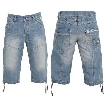 Enzo-Jeans Enzo EZS 243 Mens Designer Branded Denim Combat Shorts Bleach Wash