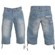 Enzo EZS 243 Mens Designer Branded Denim Combat Shorts Bleach Wash