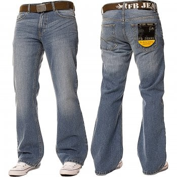 Enzo-Jeans Enzo FBM20 Mens New Bootcut Faded Denim Light Wash Jeans