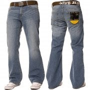 Enzo FBM20 Mens New Bootcut Faded Denim Light Wash Jeans