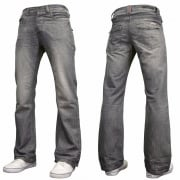 Enzo Mens A42 Designer Flared Bootcut Denim Grey Wash Jeans