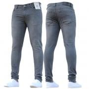 ENZO Mens Designer Stretch Super Skinny Denim Jeans Grey