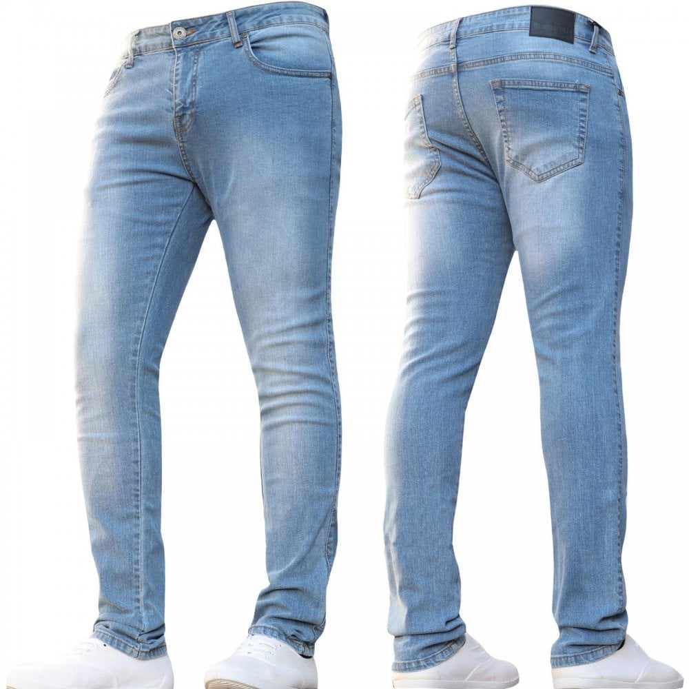4bd1ba4f9be ENZO Mens Designer Stretch Super Skinny Denim Jeans Light Stonewash Blue