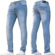ENZO Mens Designer Stretch Super Skinny Denim Jeans Light Stonewash Blue