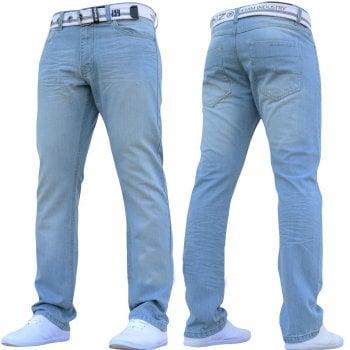 Enzo-Jeans Enzo Mens EZ 324 Designer Denim Lightwash Jeans Pants