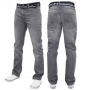 Enzo Mens EZ 324 Designer Denim Stonewashed Jeans Pants Grey