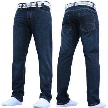 Enzo-Jeans Enzo Mens EZ 324 Designer Straight Fit Denim Jeans Pants Rinse Wash