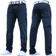 Enzo Mens EZ 324 Designer Straight Fit Denim Jeans Pants Rinse Wash