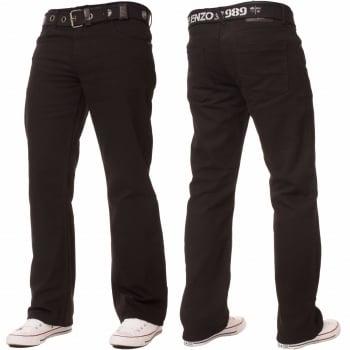 Enzo-Jeans Enzo Mens EZ14 Designer Regular Bootcut Denim Black Jeans