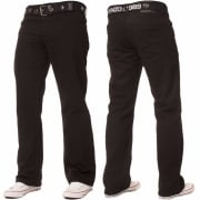 Enzo Mens EZ14 Designer Regular Bootcut Denim Black Jeans