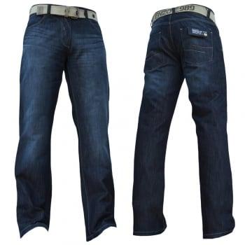 Enzo-Jeans Enzo Mens EZ14 Designer Regular Bootcut Denim Dark Used Look Jeans