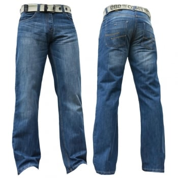 Enzo-Jeans Enzo Mens EZ15 Designer Regular Bootcut Denim Light Wash Jeans