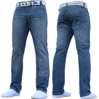 Enzo-Jeans Enzo Mens EZ324 Designer Denim Stonewashed Jeans Pants Mid Stonewash