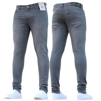 Enzo-Jeans ENZO Mens New Designer Stretch Super Skinny Denim Jeans Grey