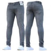 ENZO Mens New Designer Stretch Super Skinny Denim Jeans Grey