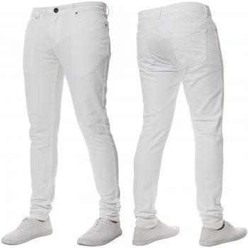 Enzo-Jeans ENZO Mens New Designer Stretch Super Skinny Denim Jeans White
