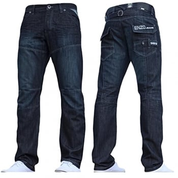 Enzo-Jeans Enzo Mens New EZ244 Regular Fit Dark Wash Jeans