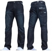 Enzo Mens New EZ244 Regular Fit Dark Wash Jeans