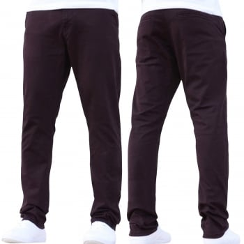 Enzo-Jeans Enzo New Mens EZ348 Slim Fit Stetch Designer Burgundy Jeans Chinos