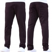 Enzo New Mens EZ348 Slim Fit Stetch Designer Burgundy Jeans Chinos