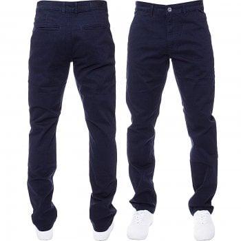 Enzo New Mens EZ348 Slim Fit Stetch Designer Navy Jeans Chinos