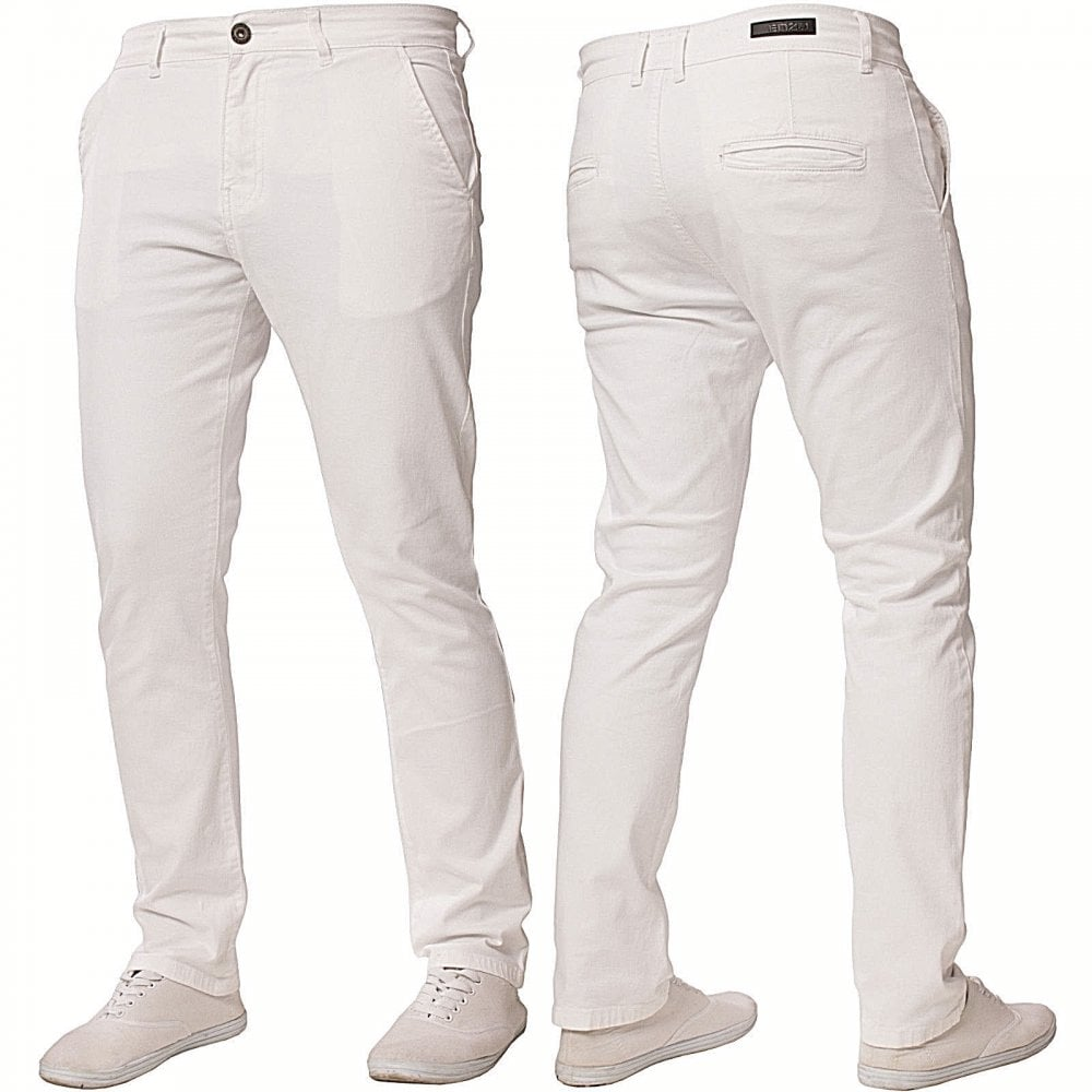 Enzo-Jeans Enzo New Mens EZ348 Slim Fit Stetch Designer White Jeans Chinos  ... 65179d4406
