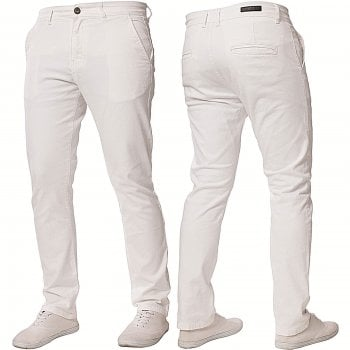 Enzo-Jeans Enzo New Mens EZ348 Slim Fit Stetch Designer White Jeans Chinos
