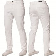 Enzo New Mens EZ348 Slim Fit Stetch Designer White Jeans Chinos
