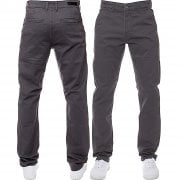 Enzo New Mens EZ348 Slim Fit Stretch Designer Grey Jeans Chinos
