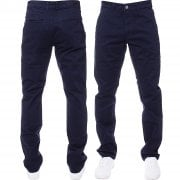 Enzo New Mens EZ348 Slim Fit Stretch Designer Navy Jeans Chinos