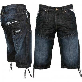 Enzo-Jeans EZ244 Jeans Designer Branded Denim Combat Shorts Dark Wash