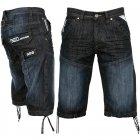 EZ244 Jeans Designer Branded Denim Combat Shorts Dark Wash